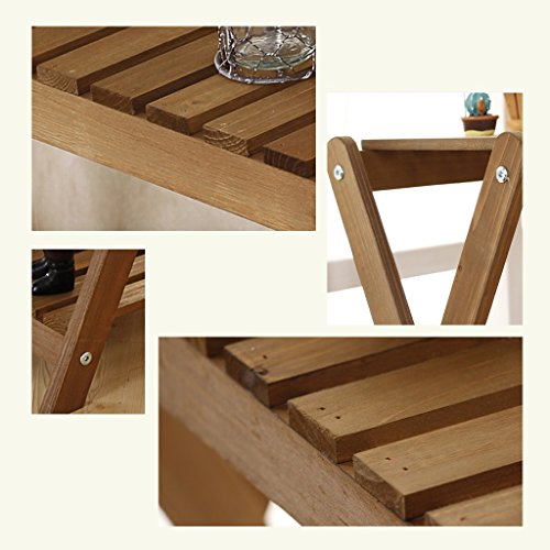 CSQ Two Wooden Shelves, Simple Solid Wood Flower Stand Shelf Multifunction Succulent Plants Decoration Toy Books Bedroom Living Room Balcony Flower Shelf by Flowers and friends (Image #5)