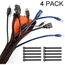 "YOUMILE Cable Management Sleeve(4pack) with Zipper & Buckle, 19.7"" Flexible Expandable Cord Organizer with 10pcs Cable Ties, Cable Wrap Kit for TV/Computer/Office/Home/Audio/Network"