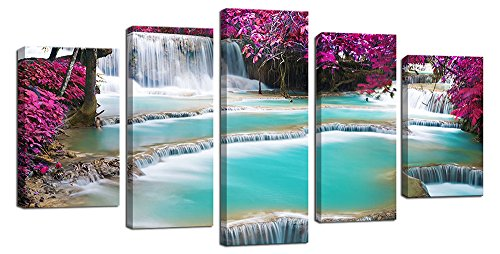 Ardemy Modern Canvas Painting Purple Trees Leaves and Blue Waterfall Scenery Landscape Artwork Picture, 5 Pieces Wooden Framed Large Wall Art Canvas for Living Room Home and Office -
