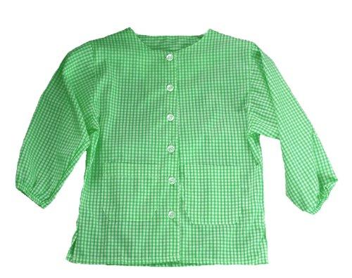 Kinder Malschürze mit Ärmeln - Baumwolle gingan. Grün - 2-3 jahre Bibs and Kids
