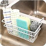 Topinon Sink Shelf Organizer Soap Sponge Drain Stand Rack Towel Shelves Holder Cupboard White Draining Storage Basket