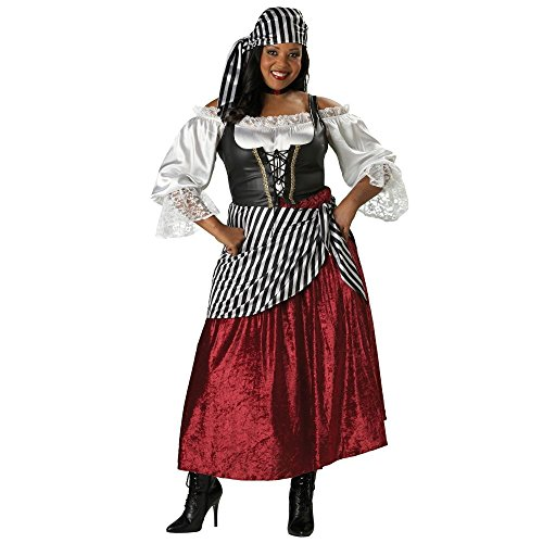 [InCharacter Costumes Women's Plus-Size Pirate's Wench Adult Plus Size Costume, Black/Burgundy, 3X] (Wench Womens Costumes)