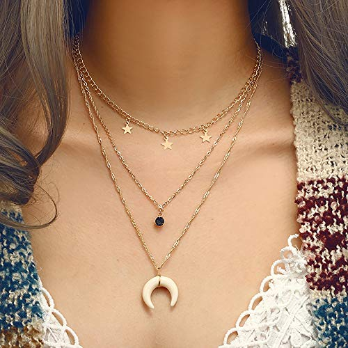 ChokerMoon Pentagonal Star Geometric Diamond Necklace Multiple Clavicle ChainJewelry Chain Women Long Gold Sterling Silver Customized Fashion Jewelry