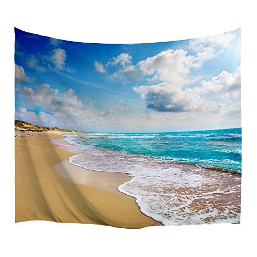 Divider Room Beach - XINYI Home Wall Hanging Nature Art Polyester Fabric Sea Beach Theme Tapestry, Wall Decor for Dorm Room, Bedroom, Living Room, Nail Included - 90