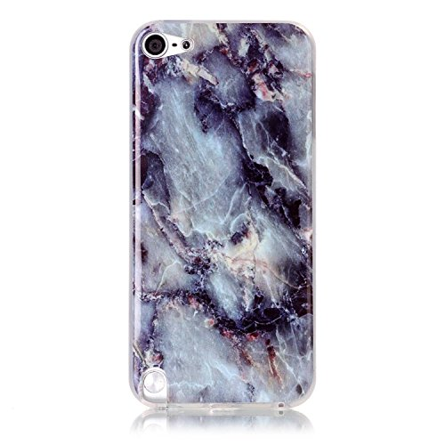Pod 5 case,iPod Touch 6 Case,New Arrival Gray White Marble Texture Design Clear Bumper TPU Soft Case Rubber Silicone Skin Cover for Apple iPod Touch 5th/6th Generation ()