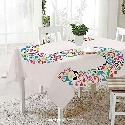 BeeMeng Large Family Picnic Tablecloth,Easy to Carry Outdoors,Letter S,S with Colorful Musical Pattern Arts Instruments Creativity Theme Graphic Notes Decorative,Multicolor,59 x 104 inches from BeeMeng