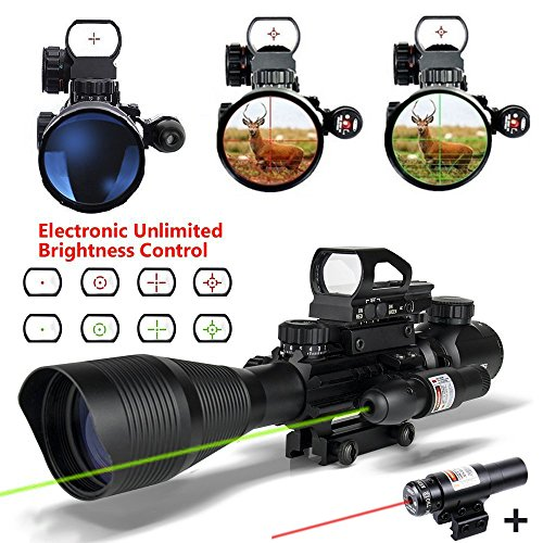 Fantastic Deal! Tactical Rifle Scope Combo 4 in 1 for AR15 4-12x50EG Dual Illuminated with Holograph...