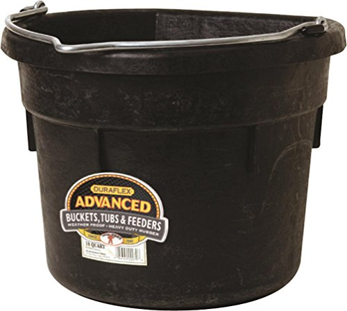 LITTLE GIANT MILLER CO Flat Back Bucket, 18 quart, (Flat Side Rubber Bucket)