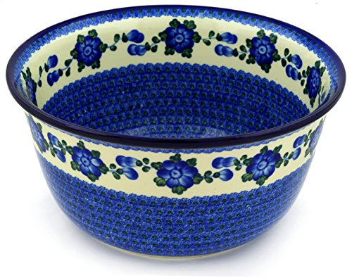 Polish Pottery Bowl 12-inch Blue Poppies by Polmedia Polish Pottery