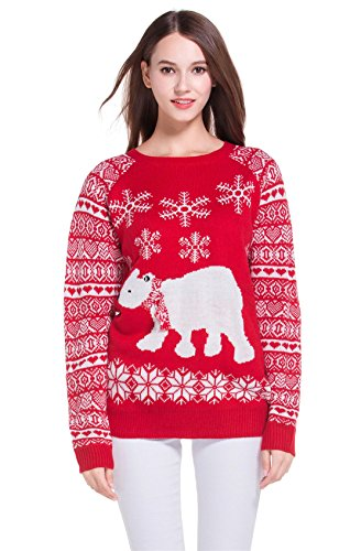 Women's Polar Bear and Snowflakes Christmas Sweater