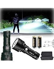 مصباح LED فائق القوة 30000-10000 لومن مصباح LED مضاد للماء فائق السطوع، 3 أوضاع أقوى 50 وات XLM-P70 LED مصباح يدوي قابل للشحن عن طريق USB (50 وات XLM-P70، بطارية ليثيوم مزدوجة)