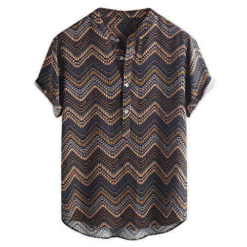 (JJLIKER Hawaiian Shirts for Men Short Sleeve Regular Fit Striped Floral Shirts Summer Tees Tops with Pockets Yellow )