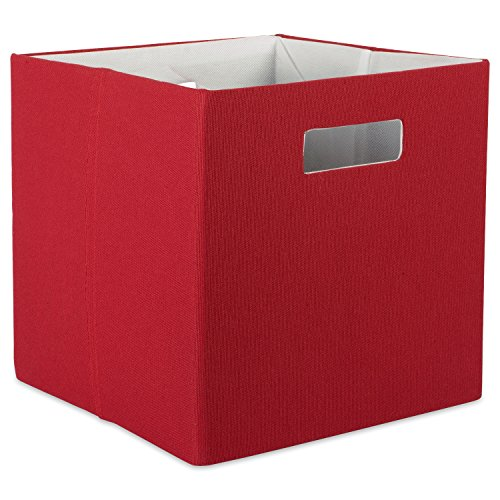 "DII Hard Sided Collapsible Fabric Storage Container for Nursery, Offices, & Home Organization, (13x13x13"") - Solid Rust"