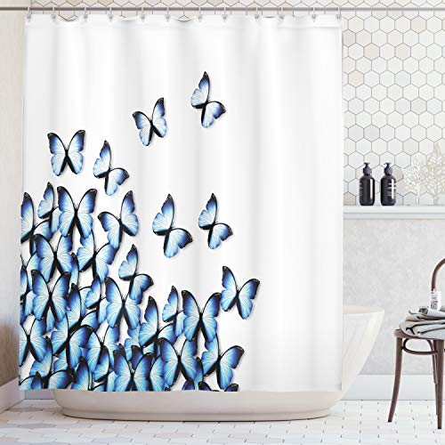 Ambesonne Butterflies Decoration Collection, Butterflies Bottom Left Corner Flying Tropical Vibrant Color Monarch Wings Image, Polyester Fabric Bathroom Shower Curtain, 84 Inches Extra Long, Blue