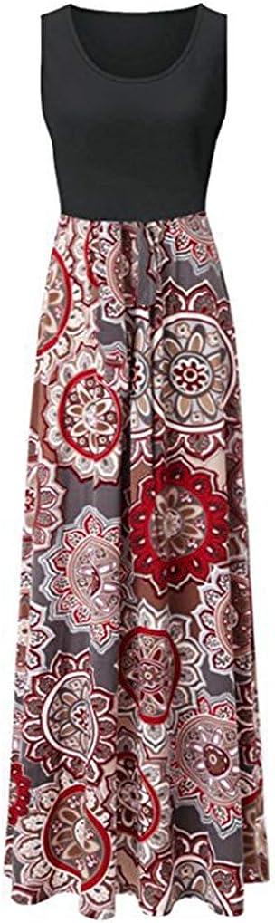Aublary Women Summer Sleeveless Floral Maxi Dress Boho Print Tank Long Dress Beach Dress
