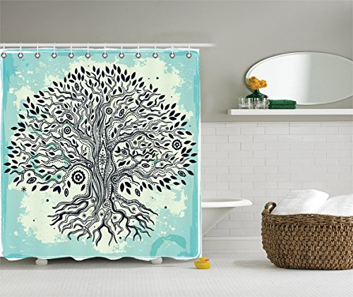 [Abstract Art Bathroom Shower Curtain with Trees Decoration Tree of Life Chinese Bonsai Roots Bohemian Hippie Evil Eye Beads for Home Decor Polyester Fabric Aqua Black] (Vintage Pin Up Girl Costume Ideas)