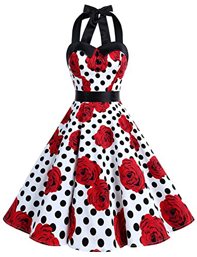 Dressystar Vintage Polka Dot Retro Cocktail Prom Dresses 50's 60's Rockabilly Bandage White Black Rose L