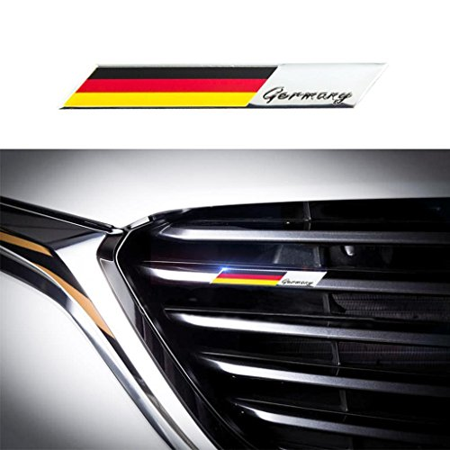 Xotic Tech Aluminum Plate Decal 3D Germany Flag Emblem Badge Sticker for Car Front Grille Side Fender Trunk Dashboard Steering Wheel, etc ()