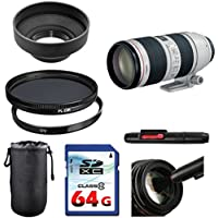 Canon EF 70-200mm f/2.8L IS II USM Lens Bundle + UV Filter + Polarizer Filter + 2 In 1 Lens Cleaning Pen + High Speed 64GB Memory Card + Rubber Hood + Deluxe Lens Case