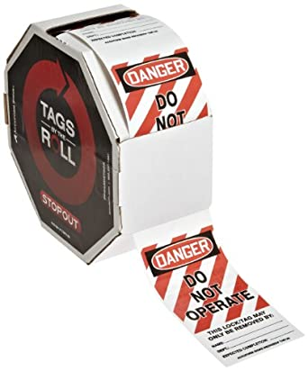"""Accuform Signs TAR125 Tags By-The-Roll Lockout Tags, Legend """"DANGER DO NOT OPERATE"""", 6.25"""" Length x 3"""" Width x 0.010"""" Thickness, PF-Cardstock, Red/Black on White (Roll of 250)"""