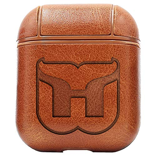 Logo Hartford Whalers (Vintage Brown) Engraved Air Pods Protective Leather Case Cover - a New Class of Luxury to Your AirPods - Premium PU Leather and Handmade exquisitely by Master Craftsmen ()