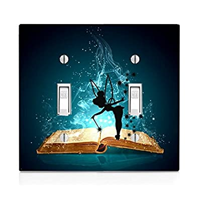 Trendy Accessories Magic Spell Book with Cute Fairy Silhouette Design Print Image Double Light Switch Plate: Home & Kitchen