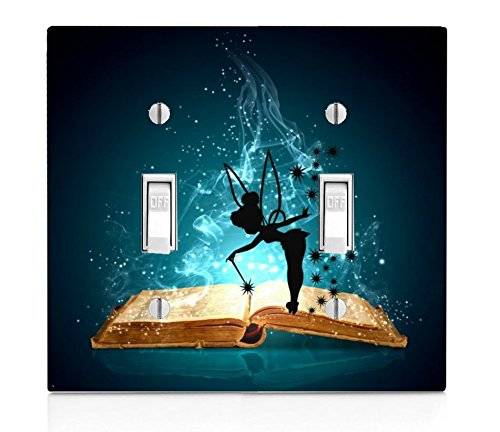 Trendy Accessories Magic Spell Book with Cute Fairy Silhouette Design Print Image Double Light Switch Plate Cover