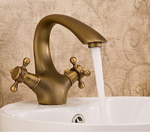 洗面器の蛇口、銅のホットとコールドダブルハンドルモノブロックの蛇口、ヨーロッパのレトロクラシックタップ、バスルームシンクの蛇口 洗面器の蛇口