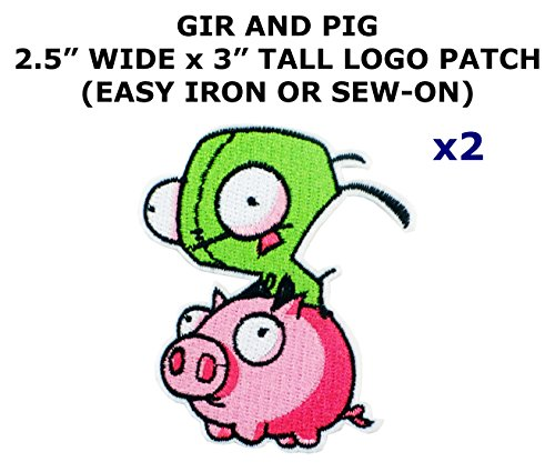 Invader Zim Cosplay Costumes (2 PCS Gir and Pig Invader Zim Cartoon Theme DIY Iron / Sew-on Decorative Applique Patches)