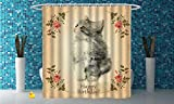 iPrint Fabric Shower Curtain [ Birthday Decorations,Adorable Fluffy Cat Rose Branches Greeting Card Inspired Design,Tan Grey Coral ] Fabric Bathroom Decor Set with Hooks