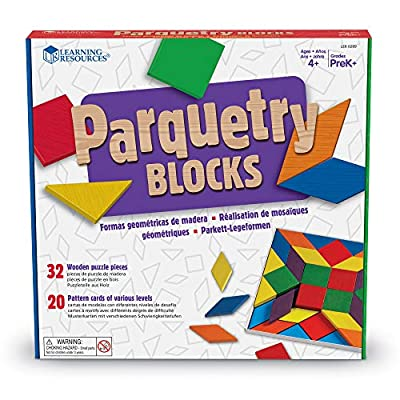 Learning Resources Parquetry Blocks & 20 Pattern Cards, 53 Piece Set, Ages 4+: Office Products