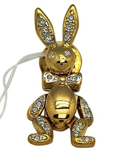 Gold Colored Rhinestone Embellished Dangling Rabbit Lapel Pin (Dangling Safety Pin)