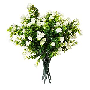 Red Co. Faux Floral Bouquet, Artificial Fake Greenery Flowers for Home and Outdoor Garden Decor, 6 Single Picks, Off White 32