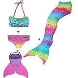Rainbow Swimmable Mermaid Tail Bikini Sets Monofin Swimware Girls Kids Cospaly Gift (Rainbow GB04, 10)