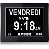 """YANSENXING 8"""" LCD Horloge Numérique Calendrier avec Date, Horloge Calendrier avec Date, Jour et Heure   Horloge Alzheimer   Horloge pour Les Seniors,C'est pour Les Parents"""