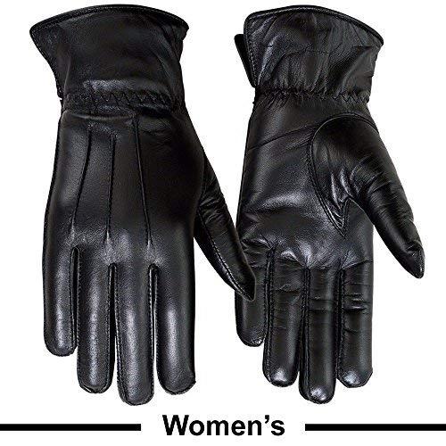 (Ladies Warm Winter Gloves Dress Gloves Thermal Lining Geniune Leather (WOMEN BLACK, Large))