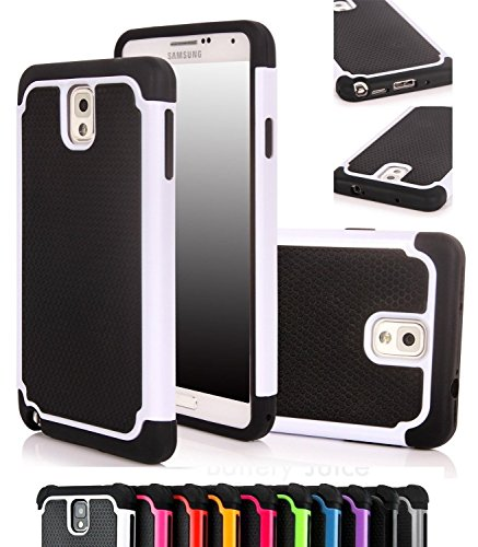 ShopNY Case - Samsung Galaxy Note 3 Note III N9000 Case-heavy Duty Rugged Dual Layer Holster Case (Samsung Galaxy Note 3 Note III N9000 Black) (White)