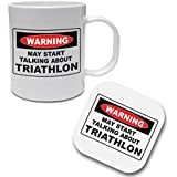 WARNING MAY START TALKING ABOUT TRIATHLON - Swim / Bike / Run / Sport / Gift Idea Ceramic Mug & Coaster Set by The Classic Image Company