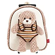 PERLETTI Carry On Backpack Teddy Bear for Children 3 4 5 Years Old – Toddler Boy Girl Handbag with Removable Stuffed…