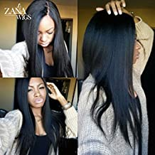 ZANA 7A Grade Virgin Glueless Human Hair Lace Front Wigs Yaki Straight Full Lace Front Wigs Best Brazilian Remy Human Hair Wigs For Black Women
