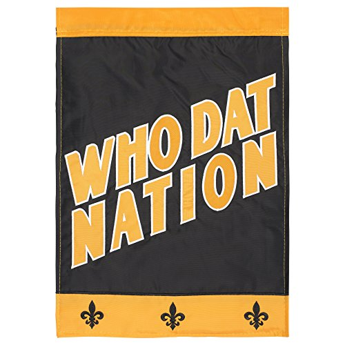 Football 13 Embroidery - Magnolia Garden Who Dat Nation Black And Gold 18 x 13 Spun Polyester Outdoor Garden Flag