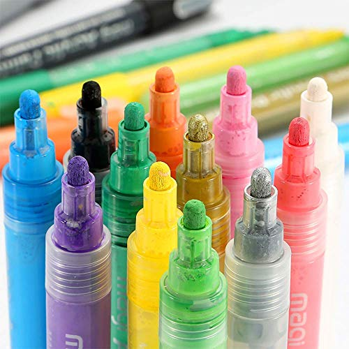 Acrylic Paint Pens for Painting on Rocks, Windows, Ceramics, Metal, Wood, Canvas, Fabric, Easter Egg, DIY Craft Making Supplies, Set of 12 Colors, Water Resistant Opaque Ink