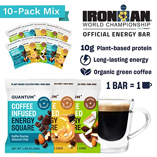 Quantum Energy Squares, Coffee Energy Bars with 10g of Vegan Protein, Low Carb Paleo Bars with Caffeine Chocolate and Good Fats from Nuts and Seeds, Enjoy Long-lasting Natural Energy, 10-Pack Variety