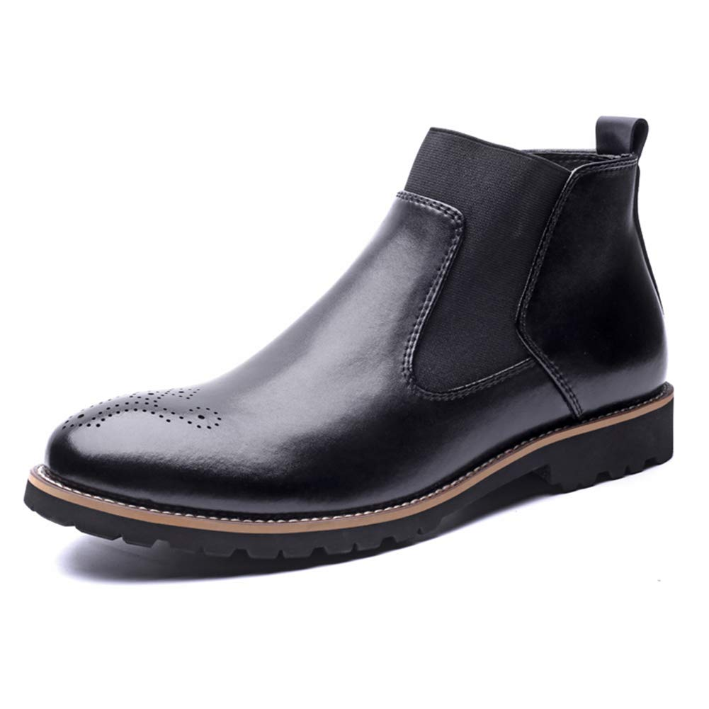 Men Slip-on Round Toe Genuine Leather Ankle Boots