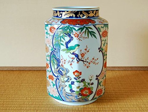 有田焼 梅小鳥 角花瓶(木箱入)【サイズ】径17.5cm×高さ24cm B018XQ8DY2