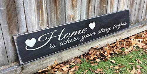 CELYCASY S-827 Handmade, Wood, Long Sign Home is Where Your Story Begins Introduction forfamily, Friends and Neighbors, Antiqued, (Begins Home Your Is Story Sign Where)