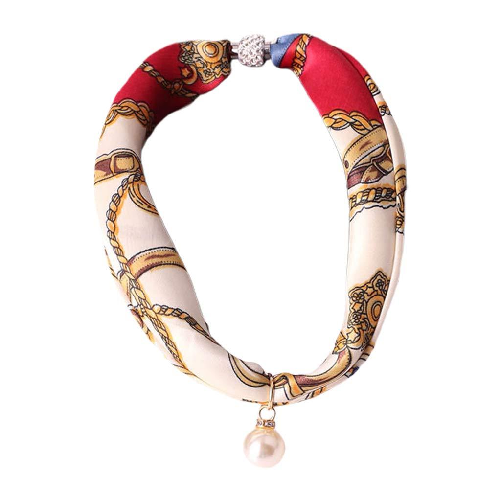 Women Imitation Silk Necklace Infinity Scarf Faux Pearl Pendant Bandana Choker