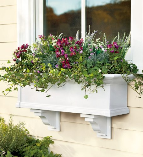 4-Foot Yorkshire Easy-Care Self-Watering Window Planter Box, in White by Plow & Hearth