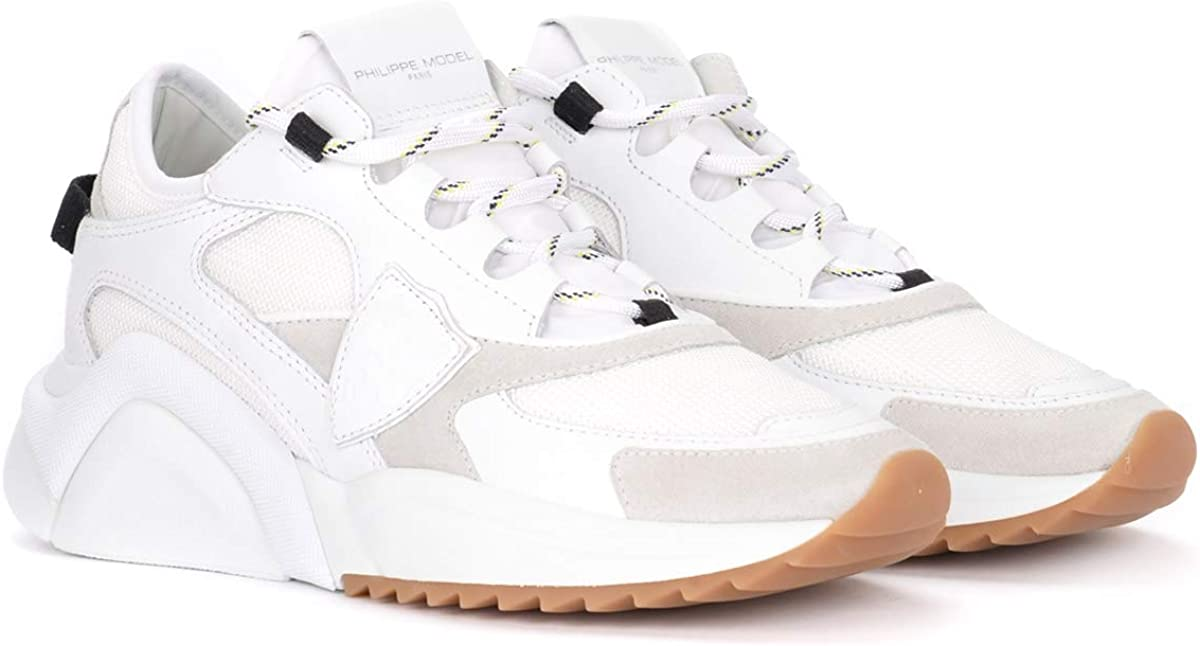 Philippe Model Baskets Eze White en Cuir Et Mesh Blanc, Taille UK: Blanc