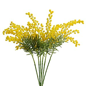 Jasming 6pcs Artificial Albizia Julibrissin Fake Acacia Yellow Flowers Mimosa Leaves Flocking Plants for Home Garden Decor 55